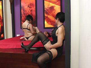 Becky and Evalyne have a guest for a lesbian threesome