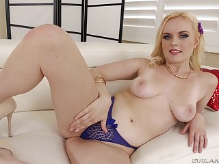 Sexy eyed blonde battle-axe swallows every drop from a black dude