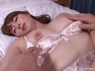 Japanese Yui Nishikawa sucks and gets missionary fucked adjacent to lingerie