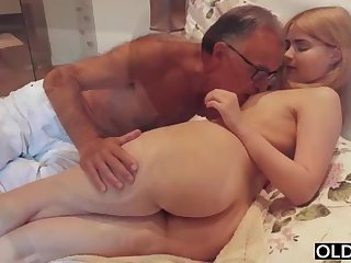 legal yo lady smooching increased by pokes her step daddy in his bedroom