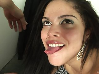 Morose brunette wants to swallow jizz and enjoyment from hard