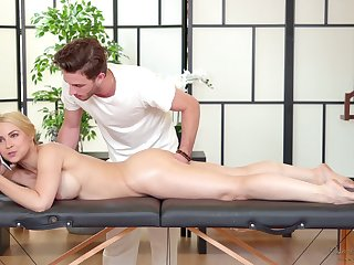 Sexy business woman Sarah Vandella is relaxing with handsome massage boy