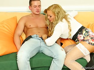 Jenna Lovely in clothes enjoys having sex with her lover. HD