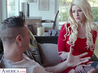 Blond babe in overheated dress and stockings Kit Mercer is fucked away from Danny Mountain