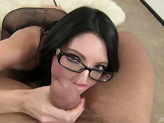 Brunette with sexy glasses, fast POV blowjob and strong facial