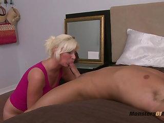 Big Blonde Deepthroats Cock plus Eats Cum
