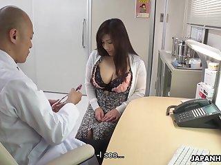 Shunned chubby Japanese lady Satomi Katayama is ready to suck two cocks