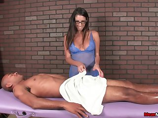 Naughty cut up with glasses loves to stroke a dick be required of her black client