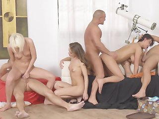 Sexy women filmed when sharing dicks in orchestrate scenes