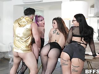 Twosome bitches with plump asses roger one hot guy coupled with take cumshot shower