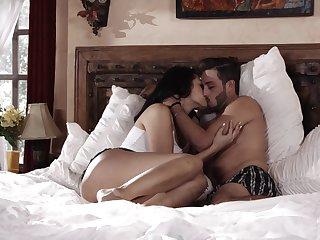 Playful brunette girl Bella Rolland provides her short bristled BF with a BJ