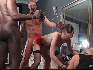 MILFs enjoying cocks respecting homemade swinger group sex video