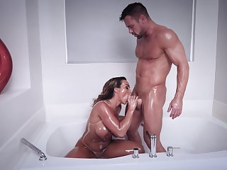 Robust man shows this busty MILF proper orgasms