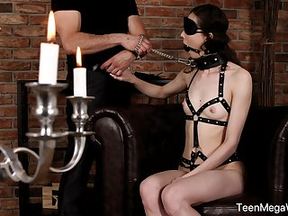Obedient teen adjacent to small tits, smashing in one's birthday suit BDSM on cam