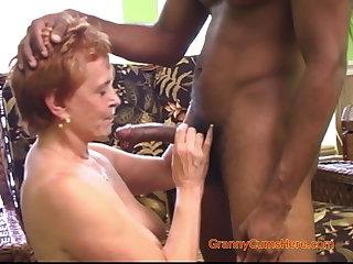 Interracial Gangbang give a Randy Granny
