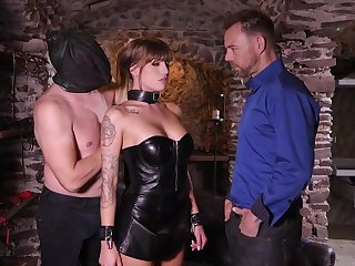 Great looking babe in a drop out of sight corset with an increment of skirt, Silvia Dellai had sex with two horny guys