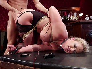 Mature slut Phoenix Marie gets a buttplug during a FFM triple