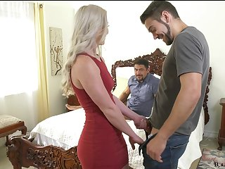 Amazing light-complexioned Kay Carter is having crazy sex fun with four Facetious ambisextrous dudes