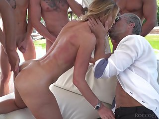 Blonde starlet fucked hard coupled with covered in cum during hardcore gangbang
