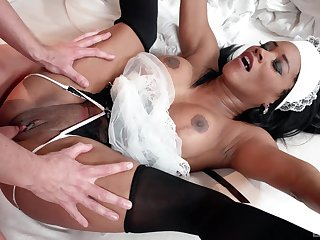 Ebony maid pleases master with her most assuredly tight cunt