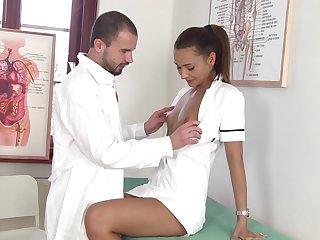 Crestfallen nurse Alexis Brill kisses her pollute and gives super duper good BJ