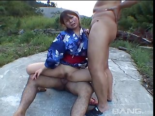 Amateur homemade video of an Asian wife having a MMF threesome