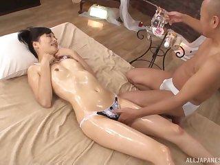Oiled Japanese cutie Yamada Ayaka gets a kneading and enjoys having sex