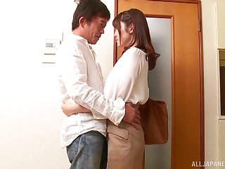 Iioka Kanako drops on her knees not far from give a sloppy blowjob not far from her man