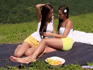 Beautiful Christy Loved licks Kari K's pussy clean first of all a picnic