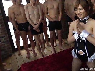 Horny Japanese guys restlessly gangbanging gorgeous Ogata Runa