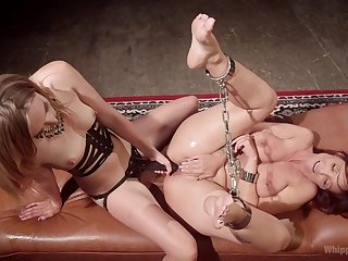 Scurrilous  BDSM pussy make believe be required of two insolent lesbians