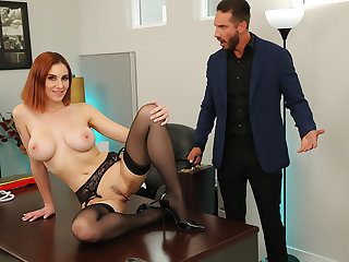 Lilian Stone drains her boss' balls to help relieve his distinguish
