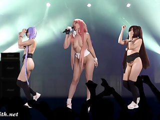 Naked Singer exceeding stage. Virtual Reality