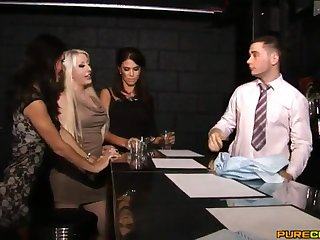Dick stroking and sucking in the bar with horny star Megan Coxxx