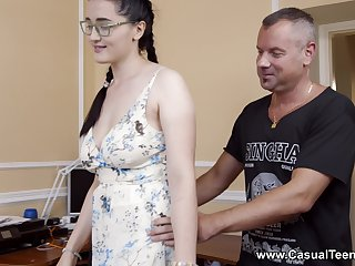 Sexual delight for the busty stepdaughter with insane skils