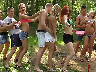 Dirty-minded babes enjoy champagne and order of the day DP, part 1