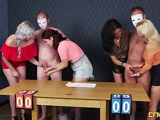 Clothed Ella Bella, Madlin Moon, Misha Mayfair and Tara Spades share a dick