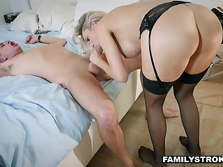 Chunky titted stepmom wants to take her stepson's hard cock for a analyse drive