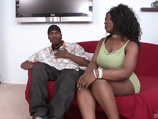 Chubby dark-skinned babe Selita Bly gets a ballpark doggy music pretension pussy ache